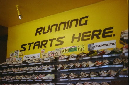 At Secondwind Running Store, where I purchased most of my running garb and gear.
