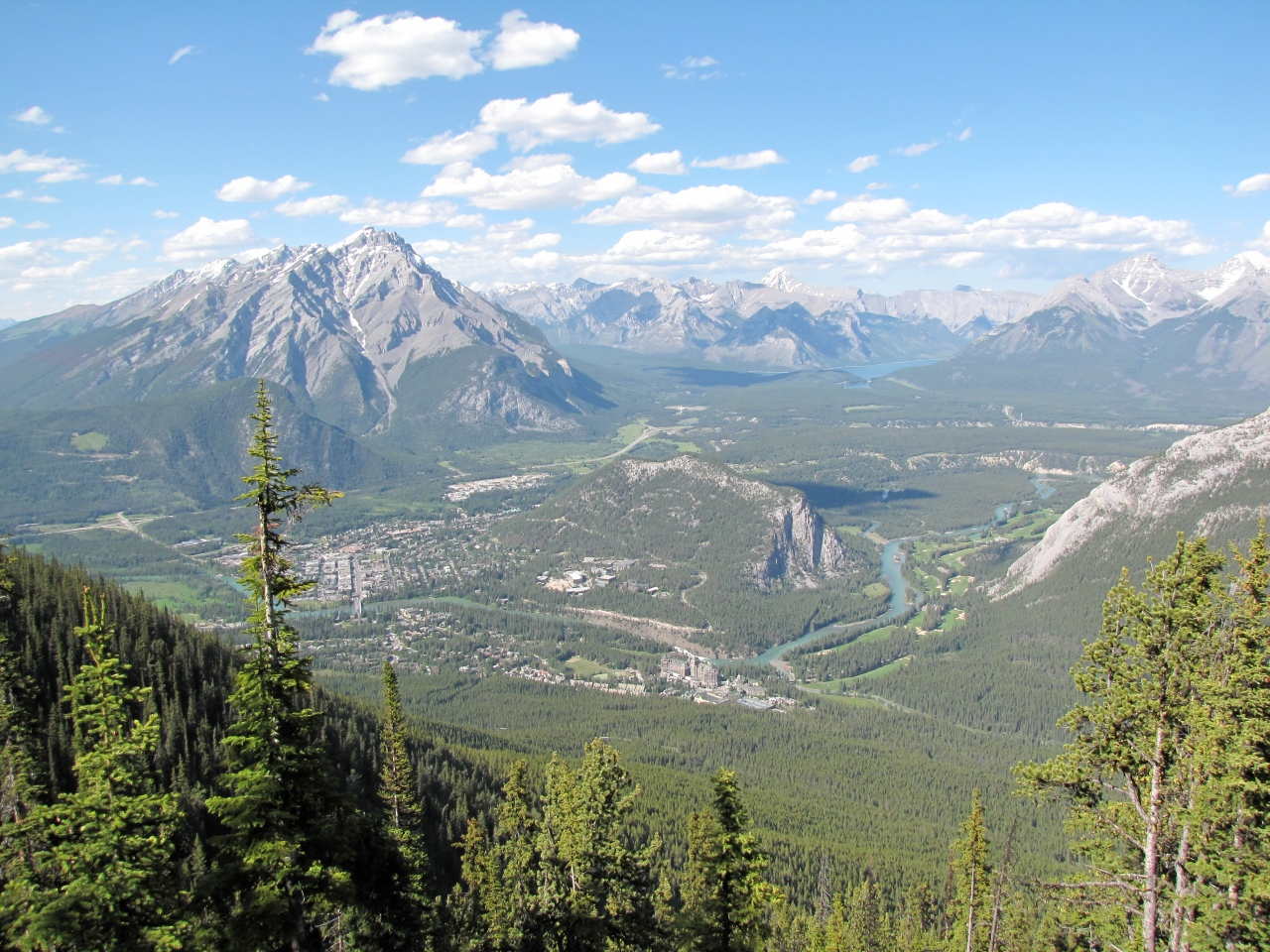 The Rockies from Mt. Sulphur. Can you spot Banff Springs Hotel?